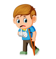 boy sadness with a broken arm vector image