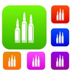 bullet ammunition set collection vector image