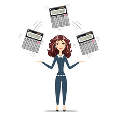 Businesswoman or manager holding calculator vector
