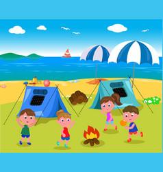 Camping at seaside vector