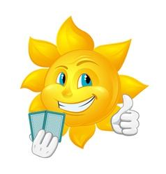 Cartoon sun is playing blackjack vector