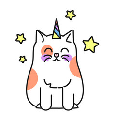 cat unicorn cute funny kitten fantasy animal vector image