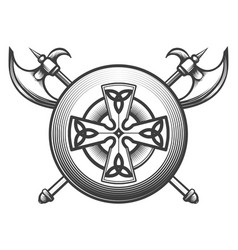 celtic shield with axes vector image