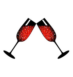 champagne red glasses vector image