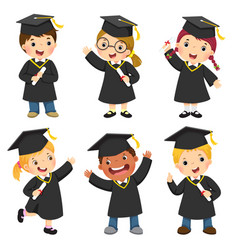 Children in a graduation gown and mortar board vector