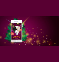 christmas online casino banner vector image
