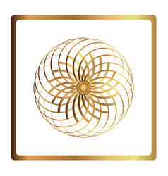 circular pattern geometric icon gold flower vector image