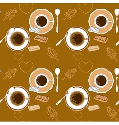 Coffee and pastry seamless pattern vector image