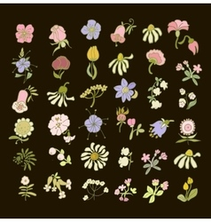 Collection of hand drawn pastel flowers Elements vector