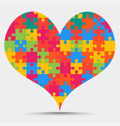 Colored piece puzzle heart valentine love vector