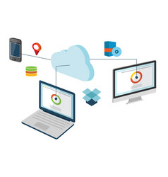 conceptual of cloud computing vector image