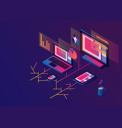 Cross-platform isometric web content devices vector