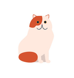 cute cartoon red and white color cat flat vector image