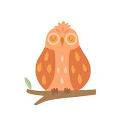 cute owl bird sleeping on branch vector image