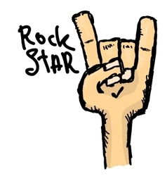 doodle hand sign rock n roll music vector image