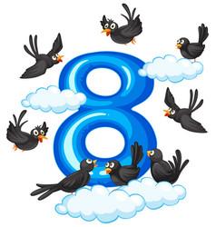Eight bird on sky vector