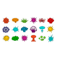 Explosion icon set color outline style vector