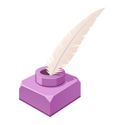 Feather and inkwell purple writing implements vector