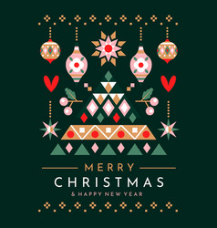 festive christmas tree and ornaments greeting card vector image