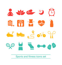 Fitness and sport icons collection fitness and vector