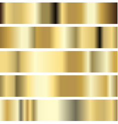 five golden texture metal background vector image