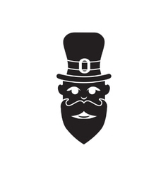 Flat icon in black and white man beard vector image