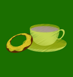 Flat shading style icon cup of tea and donat vector