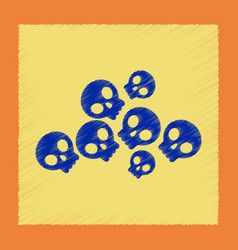 Flat shading style icon halloween skulls vector