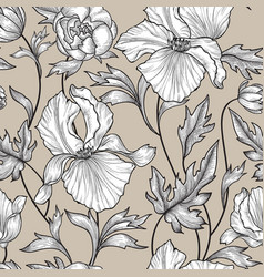 Floral seamless pattern flower background engrave vector
