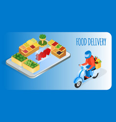 food delivery service isometric banner template vector image