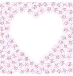 frame cherry blossom heart vector image
