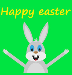 Funny easter rabbit on green background vector