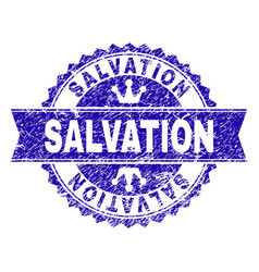 Grunge textured salvation stamp seal with ribbon vector