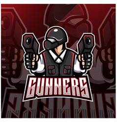 Gunner esport mascot logo design vector