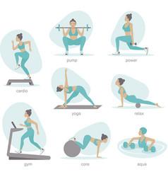 Gym activities set woman doing workout vector