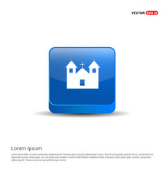 Halloween hunted house icon - 3d blue button vector