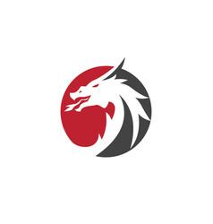 Head dragon logo template vector