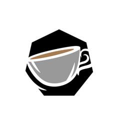 hexagon coffee logo icon design vector image