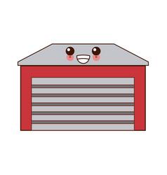 home garage isolated cute kawaii cartoon vector image