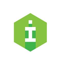 i letter logo concept green flat icon design vector image