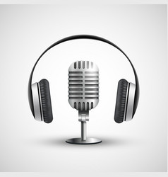 icon headphones and a microphone vector image