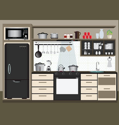 Interior kitchen with kitchen shelves vector