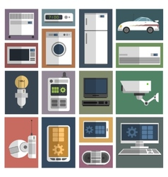 Internet things icons set flat vector