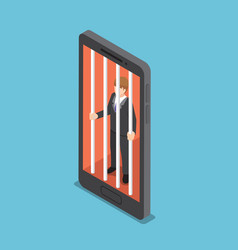isometric businessmen are trapped in a smartphone vector image