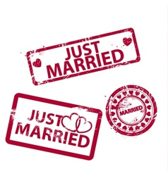 Just married stamps vector
