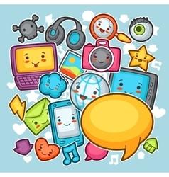 Kawaii gadgets social network background Doodles vector