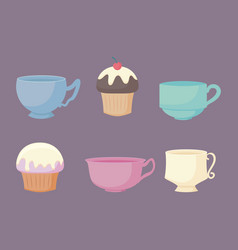 Kitchen teacups and cupcakes pastel color vector