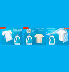 laundry service banner set realistic style vector image
