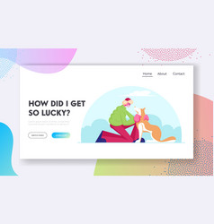 Leisure with pet website landing page happy man vector