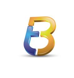 Letter tb 3d style logo vector